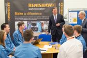 David Cameron with Renishaw apprentices and graduates