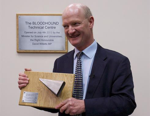 Science Minister David Willetts and his prototype nose cone (image courtesy BLOODHOUND SSC)