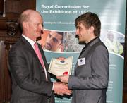 Jethro Coulson being awarded an Industrial Fellowship by Rt Hon David Willetts, UK Minister for Universities and Science