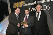 Kevyn Jonas (centre) receives the MWP 'Best Quality Control Equipment' award from category sponsor Hardinge