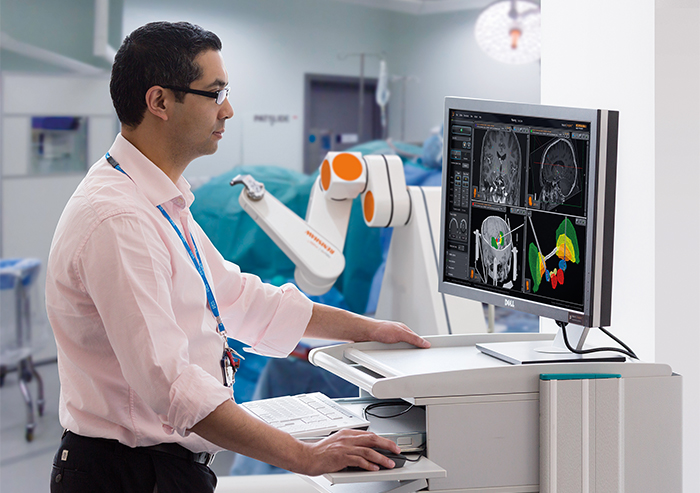 neuromate stereotactic robot and neuroinspire software in use at Bristol Royal Children's Hospital